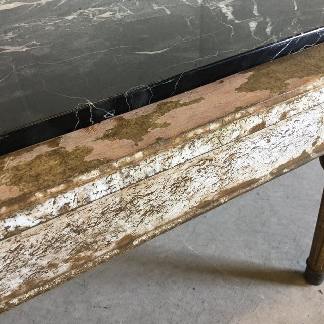 1950s Hollywood Regency Wood Marble Upholstered Bench For Sale - Image 5 of 13
