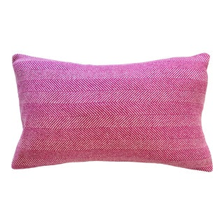 Contemporary FirmaMenta Fuchsia Pink Herringbone Wool Lumbar Pillow For Sale
