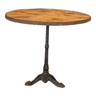 Vintage Round Bistro Table With Black Cast Iron Base For Sale