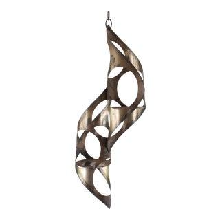 Mid Century Sculptural Brutalist Mixed Metal Hanging Candelabra For Sale