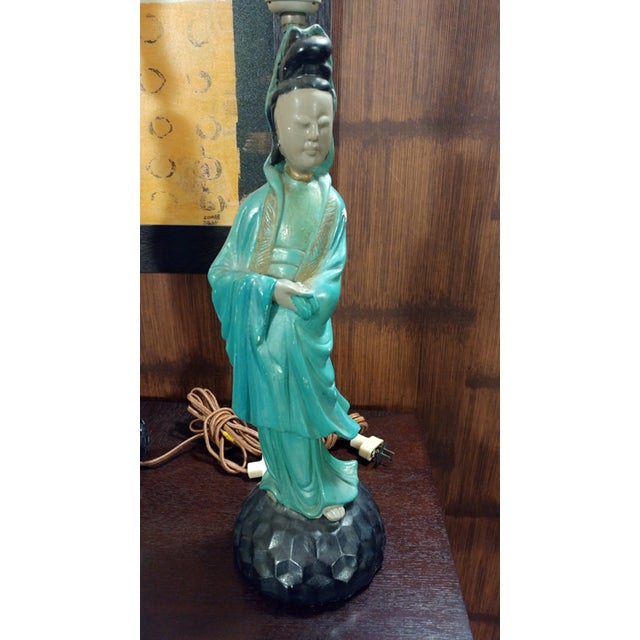 Asian Chalkware Style Lamps - Pair - Image 4 of 8
