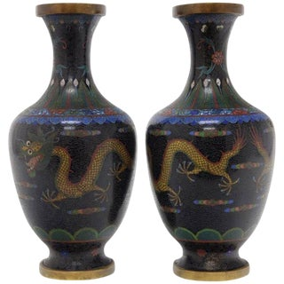 20th Century Asian Antique Cloisonne Vases Featuring Colorful Dragons - a Pair For Sale