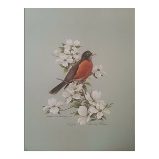 "1970s Roger Tory Peterson ""Robin"" Original Signed Limited Edition Print For Sale"