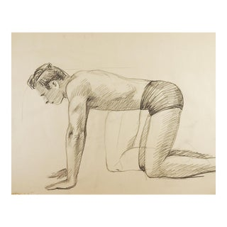 1950's Figure Study Drawing For Sale