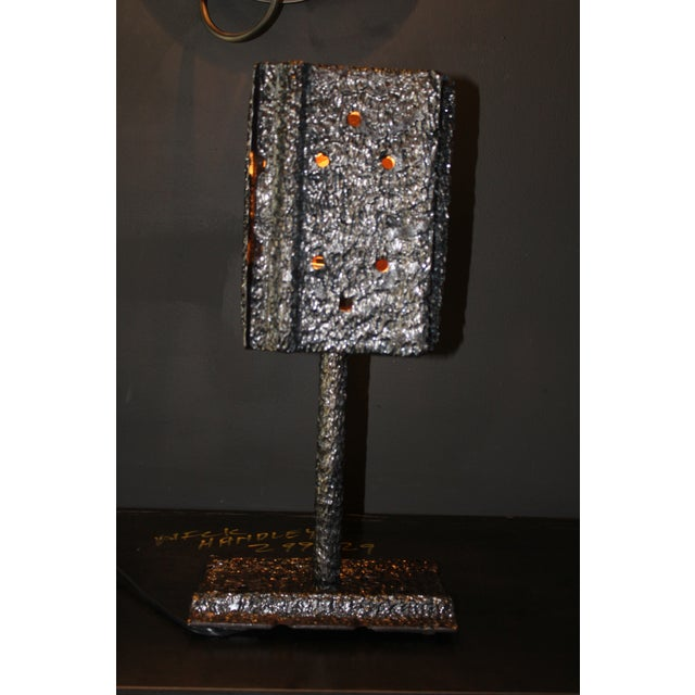 """Pair of Custom Clark Shaw Brutalist Lamps - """"Tread Lightly"""" For Sale - Image 4 of 7"""