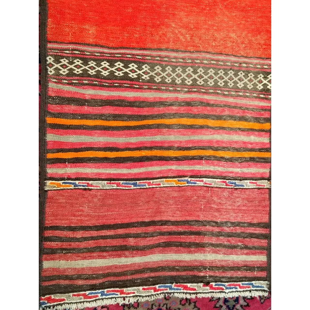 1950s Moroccan Red and Orange Wool Kilim Runner - Image 3 of 9
