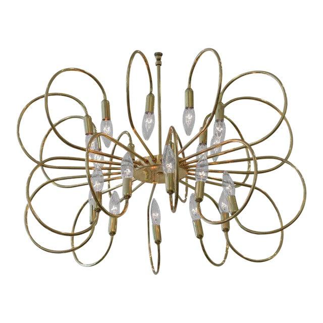 Polished Brass Twelve-Arm Chandelier For Sale