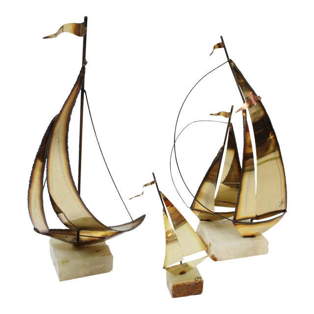 John Perry Brass Boats - Set of 3 For Sale