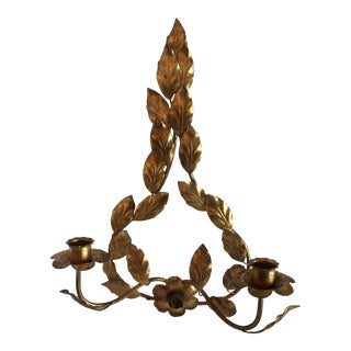 Italian Gold Metal Double Candle Wall Sconce For Sale