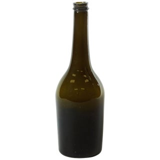 Green Hand Blown Wine Bottle From Late 19th Century France For Sale