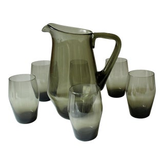 Vintage -Smoked Glass Juice Glasses and Smoked Glass Pitcher - Set of 7 For Sale