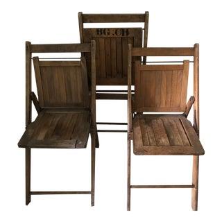 Vintage Wooden Slat Folding Chairs - Set of 3 For Sale