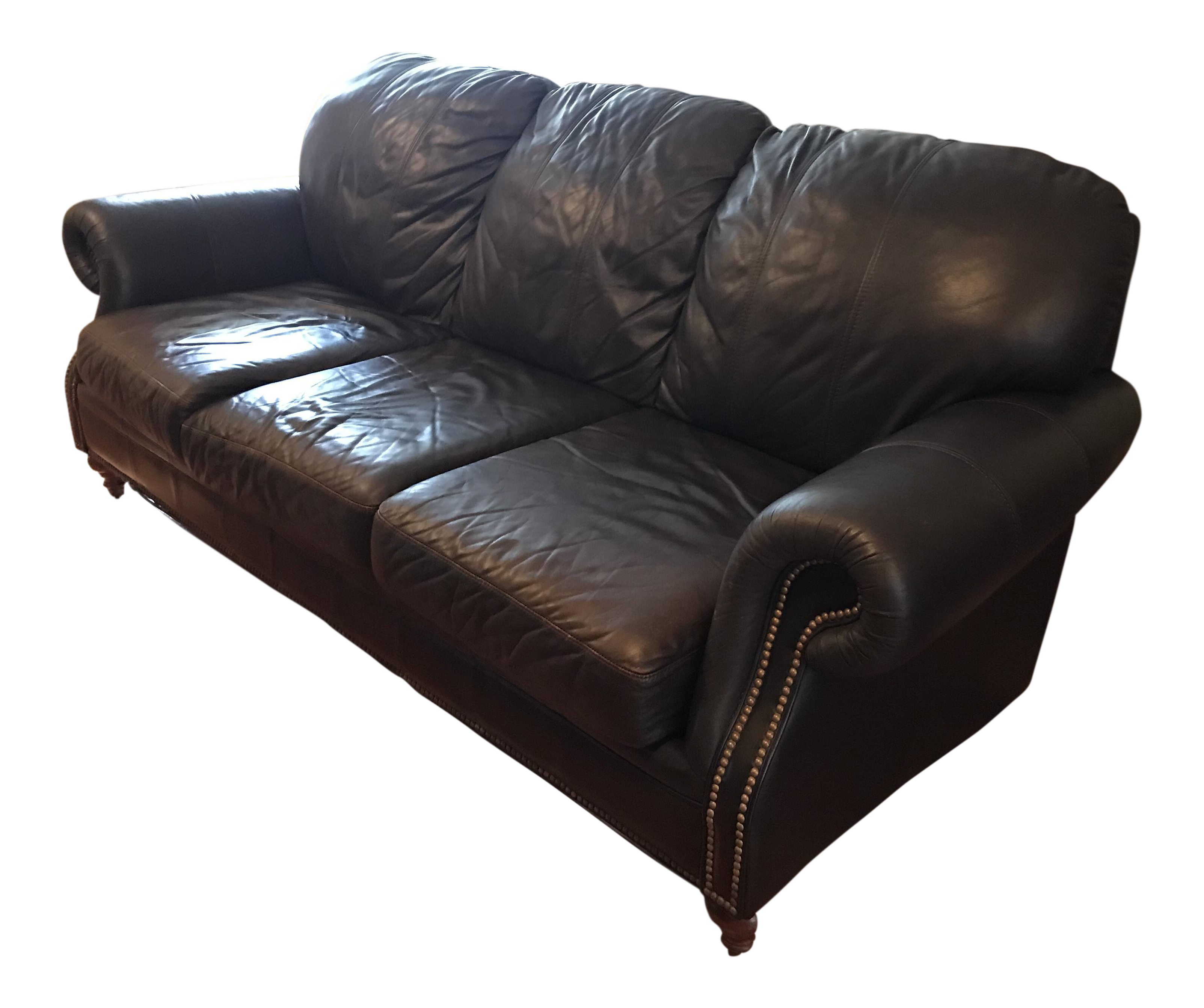 Ethan Allen Chocolate Leather Sofa