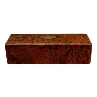 Antique French Elm Burlwood Glove Box or Jewelry Case For Sale