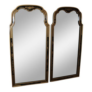 Vintage Mid Century Queen Anne Chinoiserie Black Lacquer Mirrors- A Pair For Sale