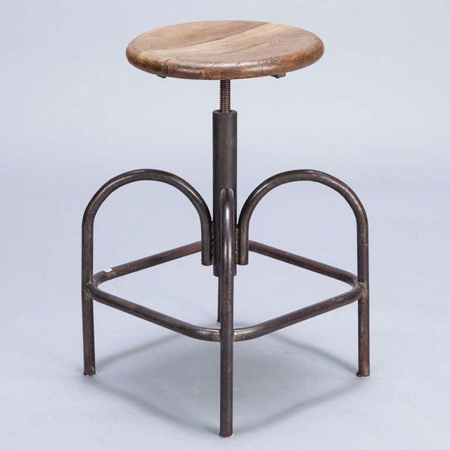 Vintage Wood & Steel Industrial Stool - Image 2 of 5