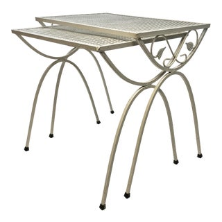 Mid Century Modern White Wrought Iron & Mesh Nesting Tables - A Pair