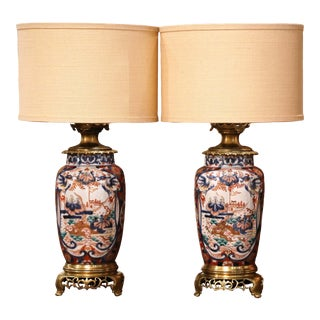 Pair of 19th Century French Imari Hand Painted Porcelain and Bronze Table Lamps For Sale