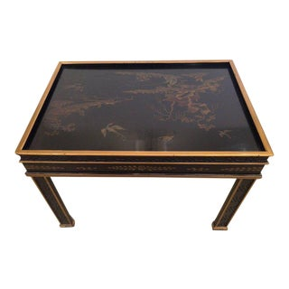 Chinoiserie Style Black & Gold Side Table by Drexel Heritage