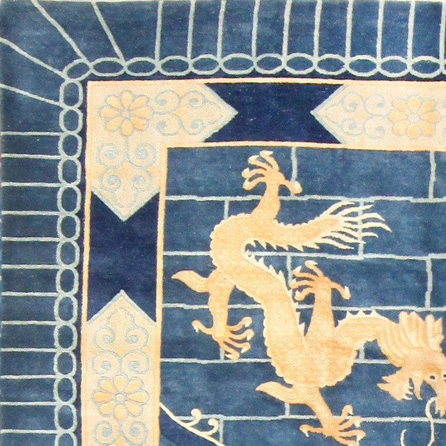 Chinese Art Deco Blue Rug - 12′ × 15′4″ For Sale - Image 4 of 10