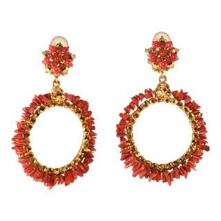 Barrera Earrings Hoop Dangles Natural Coral Arum Rhinestones For Sale