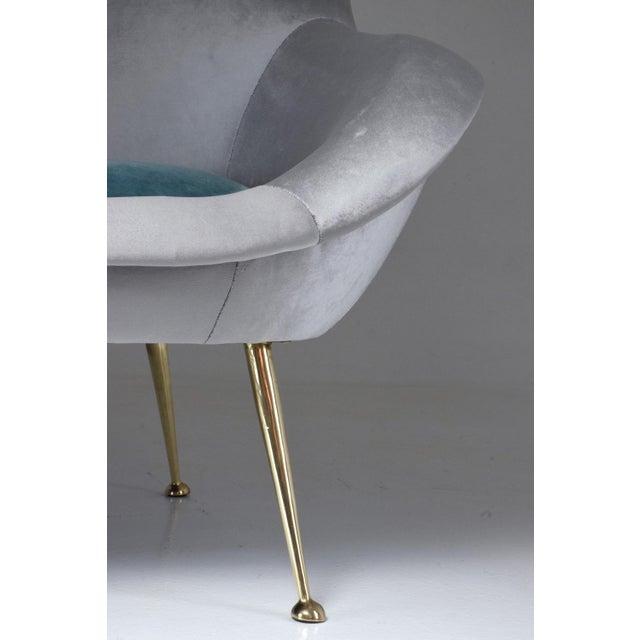 Blue Italian Midcentury Velvet Sofa Set by ISA Bergamo, 1950s For Sale - Image 8 of 13