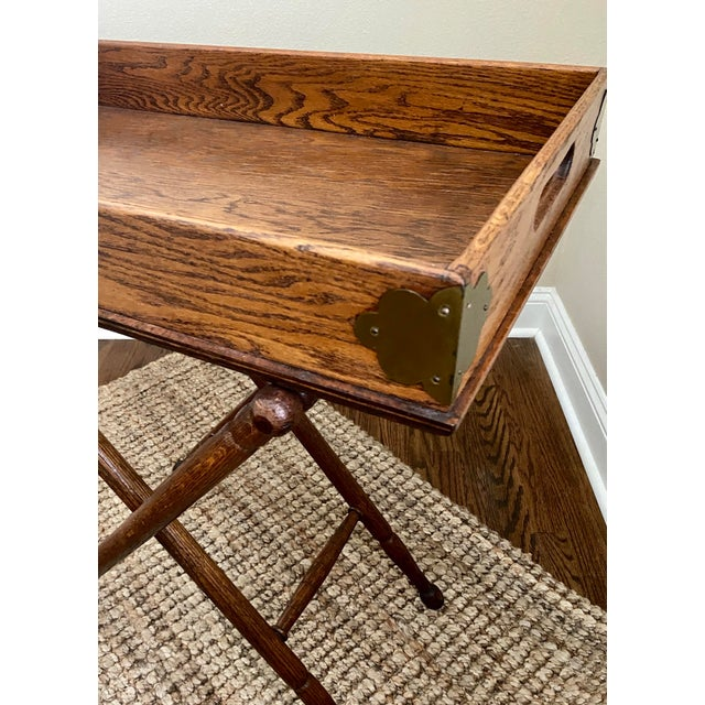 Antique English Oak Folding Butlers Tray Bar For Sale - Image 4 of 11