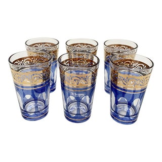 Vintage Blue and Gold Tea Glasses Made in France by M. Missary- Set of 6 For Sale