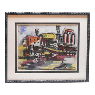 Vintage Original Mid 20th Century Abstract Cityscape-Helen Malta-Watercolor-Signed-Framed For Sale