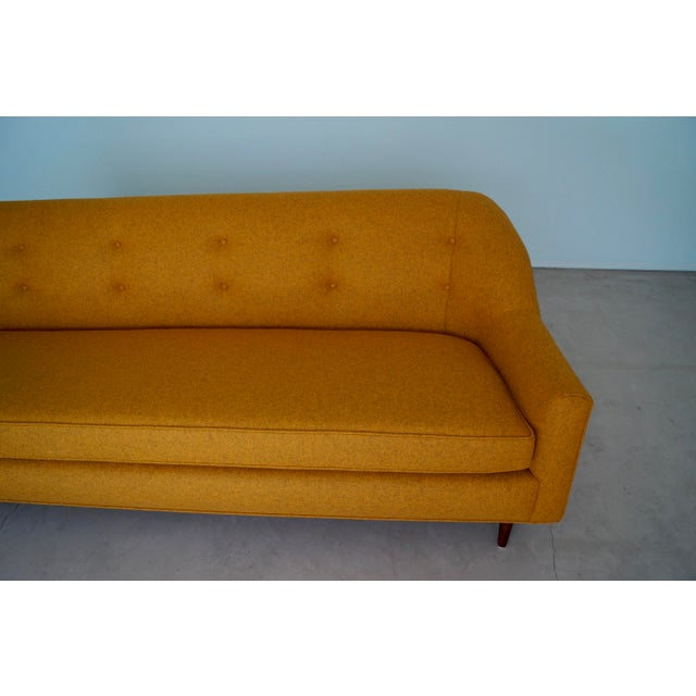 Mid-Century Modern Sofa Reupholstered in Orange Wool For Sale - Image 11 of 13