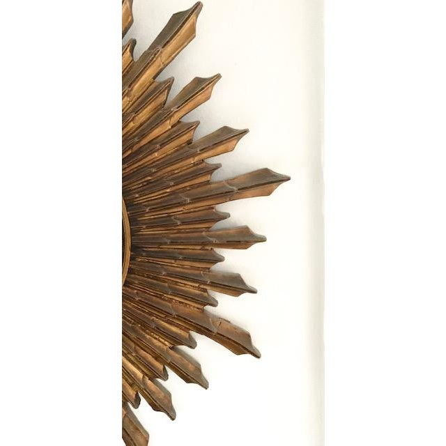 Early 20th Century Large Antique Wood Convex, Starburst Mirror For Sale - Image 5 of 8