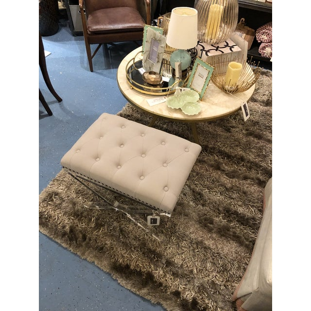 Metal Modern Chelsea House Soho Tufted Bench For Sale - Image 7 of 9