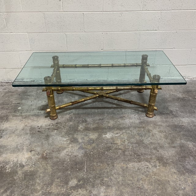 1970s Italian Gilt Faux Bamboo Glass Top Coffee Table For Sale - Image 13 of 13