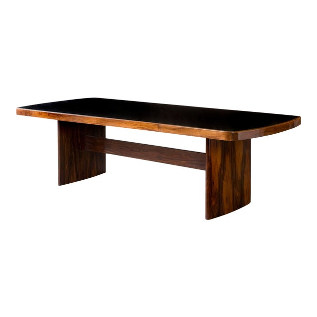 Soft-Edged Rectangular Dining Table in Rosewood With Black Underpainted Glass Top and Curved Legs For Sale