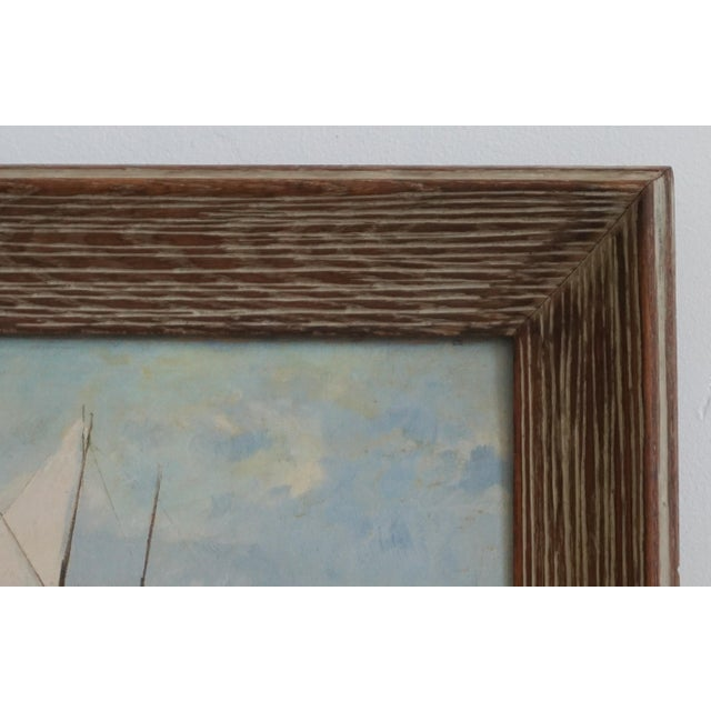 Vintage Sailboat Painting In Weathered Frame - Image 4 of 6