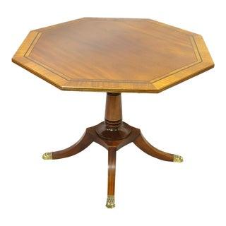 Baker English Regency Mahogany Pedestal Base Banded Inlay Octagonal Center Table For Sale