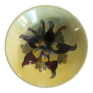 Mid 20th Century Moorcroft Yellow Footed Bowl in Columbine Pattern For Sale