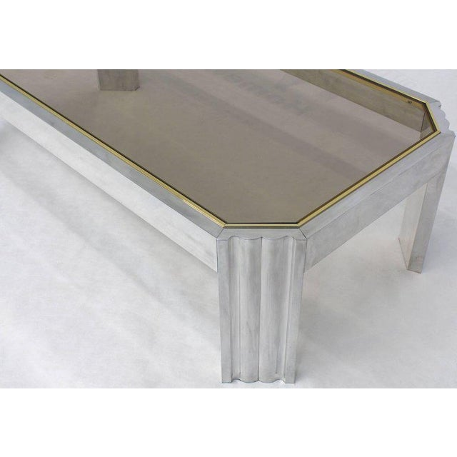 Aluminum Brass Glass Rectangular Coffee Table For Sale - Image 4 of 7