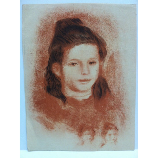 "Portraiture 20th Century Original Drawing on Paper, ""Brown Haired Girl"" - Artist Unknown For Sale - Image 3 of 5"