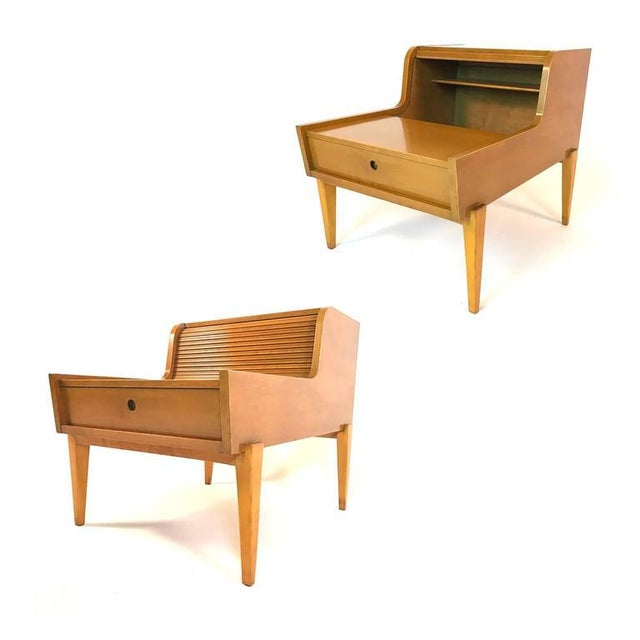 Mid-Century Modern Pair of Edmund J. Spence Nightstands or End Tables With Tambour Door and Drawer For Sale - Image 3 of 6