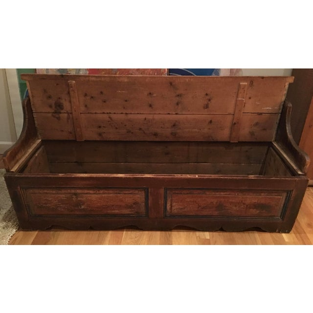 Antique Wooden Storage Bench - Image 5 of 8