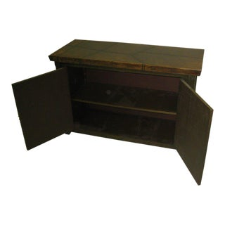 Japanese Mid-Century Modern Banded Wood and Leather Covered Cabinet / Console