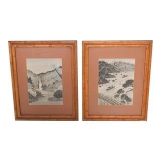 Pair of Silk Embroidery Paintings Asian Landscape Art Work For Sale