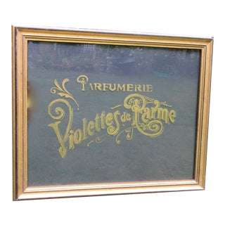 French Reverse Painted on Glass Gold Framed Perfume Sign For Sale