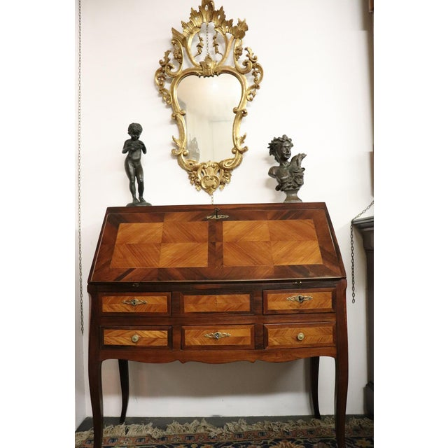 19th Century Italian Antique Louis XV Style Luxury Chest of Drawers With Secretaire For Sale - Image 12 of 13