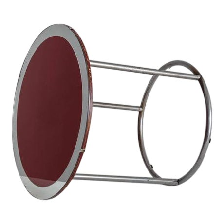 1920s Tubular Metal Table with Red Wood and Glass Top, England - Image 1 of 8