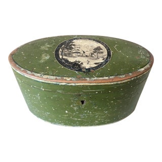 Late 19th Century Spa Hand Painted Wood Box - Tea Caddy For Sale