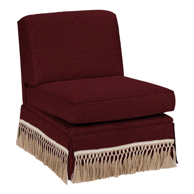Traditional Casa Cosima Skirted Slipper Chair, Merlot For Sale - Image 3 of 3