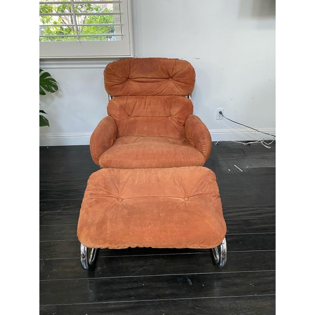 Vintage Milo Baughman Pumpkin Suede Chair & Ottoman For Sale - Image 11 of 11