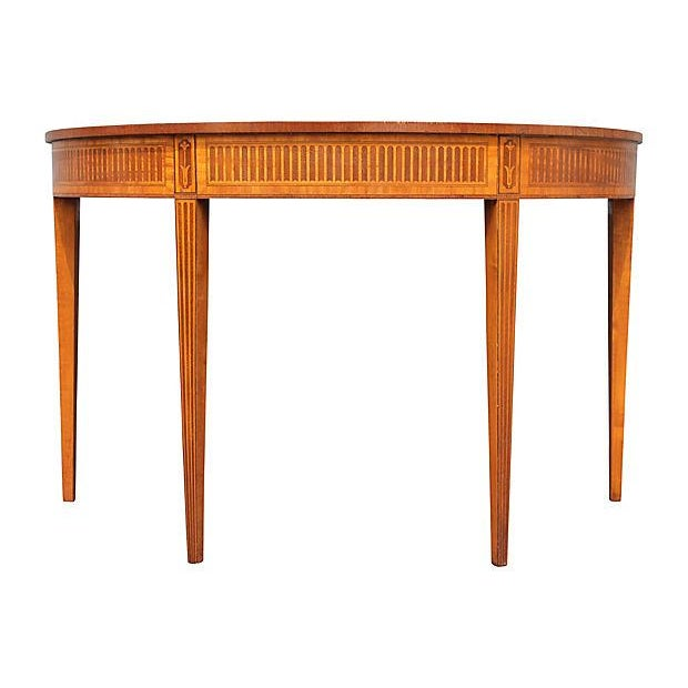 Wood Inlay Demilune Console Table - Image 5 of 9